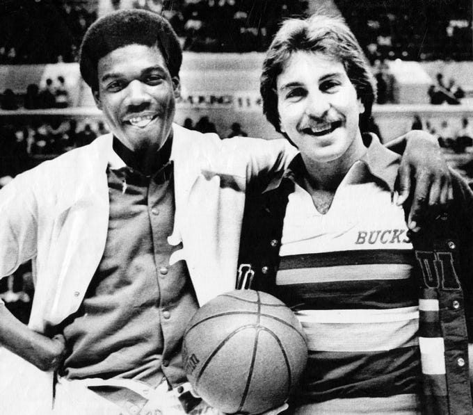 Former Tennessee teammates Bernard King of the New Jersey Nets, left, and Ernie Grunfeld of the Milwaukee Bucks are seen together on Nov. 16, 1977.
