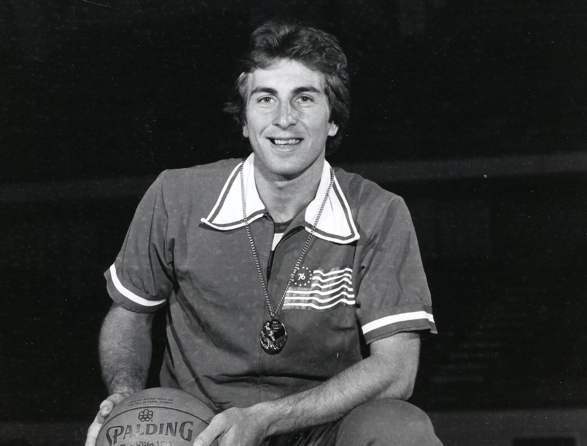 Ernie Grunfeld, with his Olympic gold medal from the 1976 USA basketball team, November, 1976.