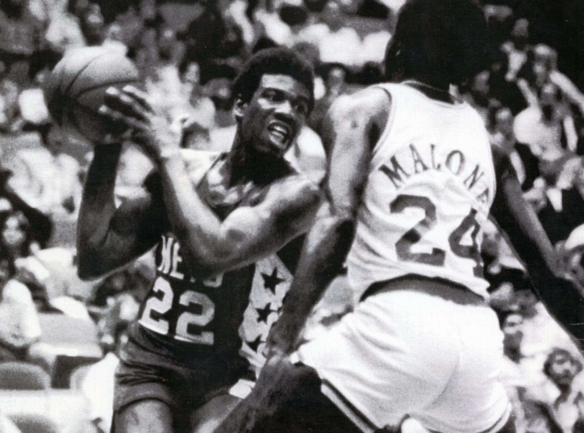Bernard King, left, with the New Jersey Nets, October, 1978.