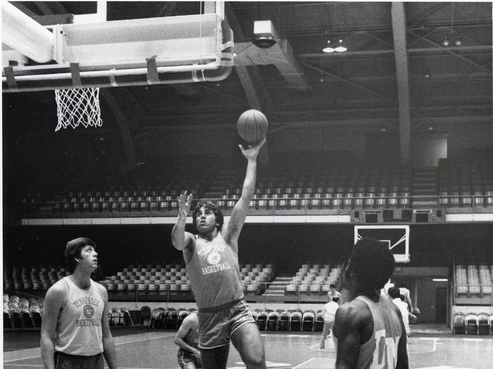 Ernie Grunfeld during a UT practice session, December, 1974.