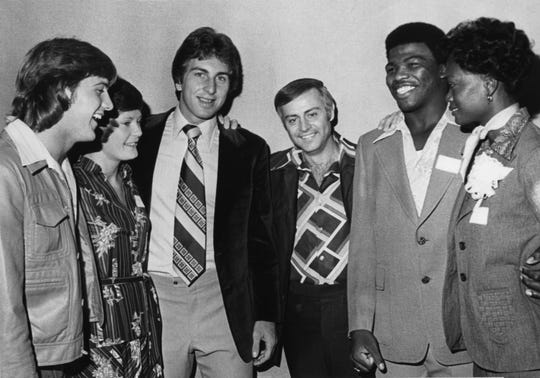 In an Oct. 2, 1976, photograph, Knoxville's Summer Olympic athletes are honored by Mayor Randy Tyree at a ceremony at the Hyatt Regency. Pictured are Phil Olsen, left, Pat Head, Ernie Grunfeld, Tyree, John Tate and Trish Roberts. Olsen competed in the javelin throw; Head and Roberts were women's basketball silver medalists; Grunfeld was a men's basketball gold medalist; Tate was a boxing bronze medalist.