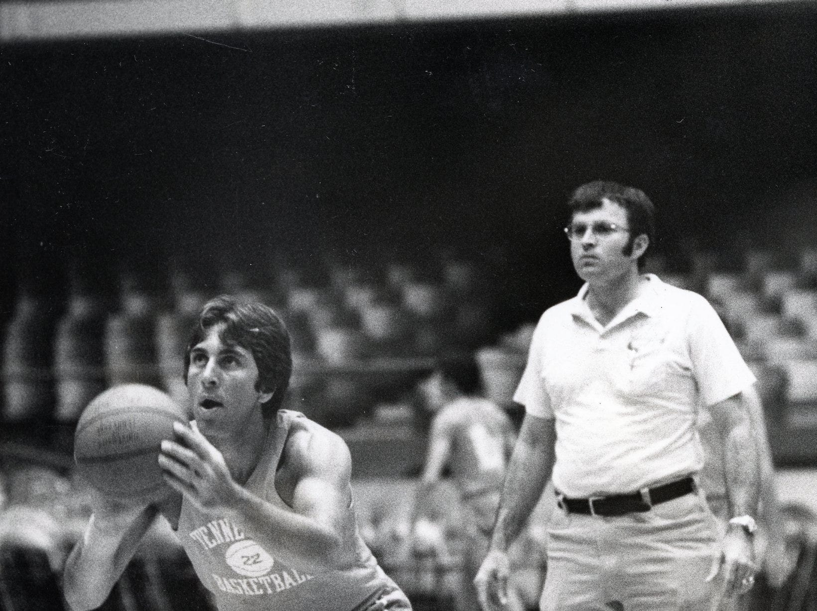 Ernie Grunfeld works on free throws during a December, 1974 practice at UT.
