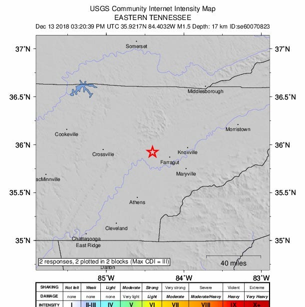 Two small earthquakes recorded in East Tennessee one day after 4.4 magnitude quake