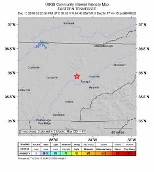 A small earthquake was recorded in Oak Ridge on Thursday, Dec. 13, 2018.