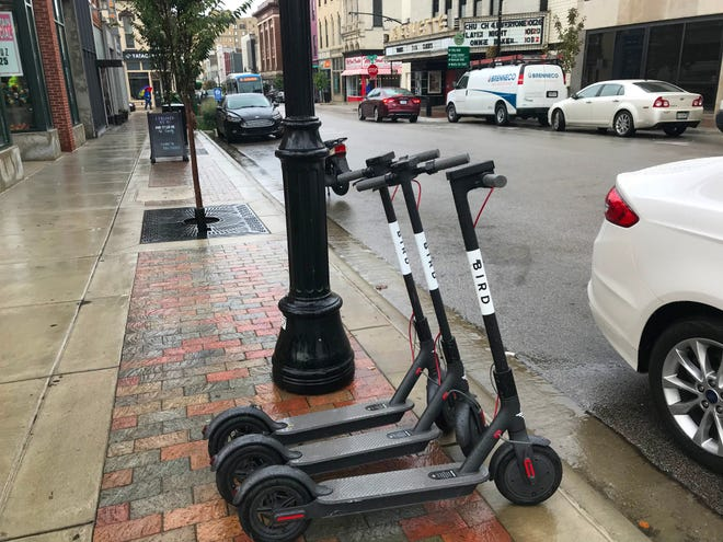 Bird  scooters will return to downtown Lafayette streets under a pilot program, starting Dec. 13. Bird and two other companies, Spin and Blue Duck, will be allowed up to 200 electric scooters in Lafayette.