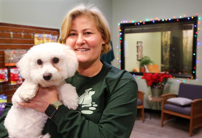 Julie Shaw with Minnie, a Bichon Frise, Thursday, December 13, 2018, at Stepping Stone Animal Training, 2655 Teal Road in Lafayette.