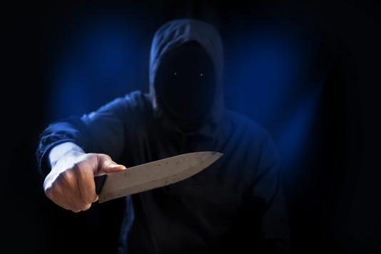 Dangerous Criminal Hold Knife In Hand