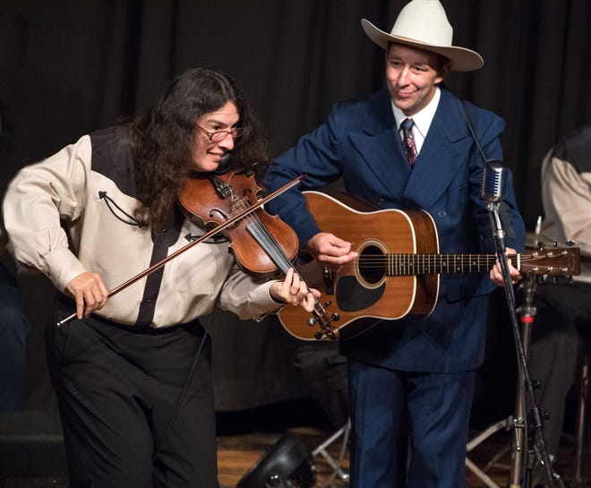 Gina Forsyth, left, and Hugh Harris perform at the 2017 Tribute to Hank Williams at the Liberty Theater in Eunice.