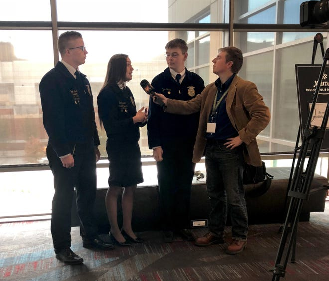Part of A-C FFA's Agricultural Communications team, Noah Smith, Paige Hinton and Aaron Sharp, are  interviewed by the Ohio Ag Net Radio Broadcast.