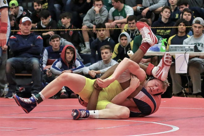 Hartland's Kyle Kantola had two pins in a dual against Flushing and Clarkston.