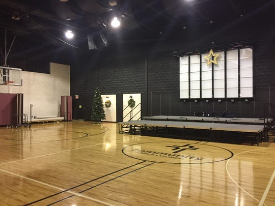 A gymnasium at Community Bible Church in Genoa Township, shown Thursday, Dec. 14, 2018, doubles as a worship center for Sunday services. When the church expands, adding a 600-seat auditorium, church services will be held there instead.