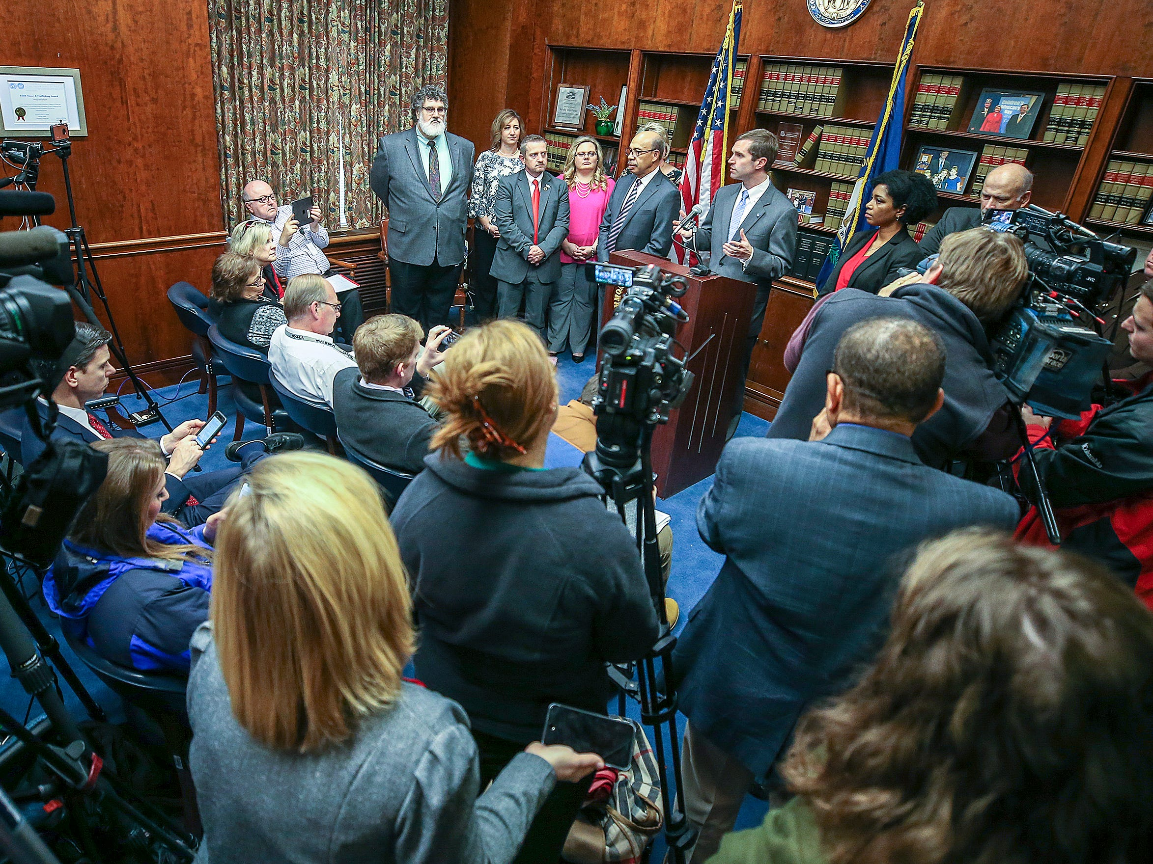Kentucky Attorney General Andy Beshear speaks with the media after a Kentucky Supreme Court ruling that overturned Gov. Matt Bevin's pension reform bill. December 13, 2018