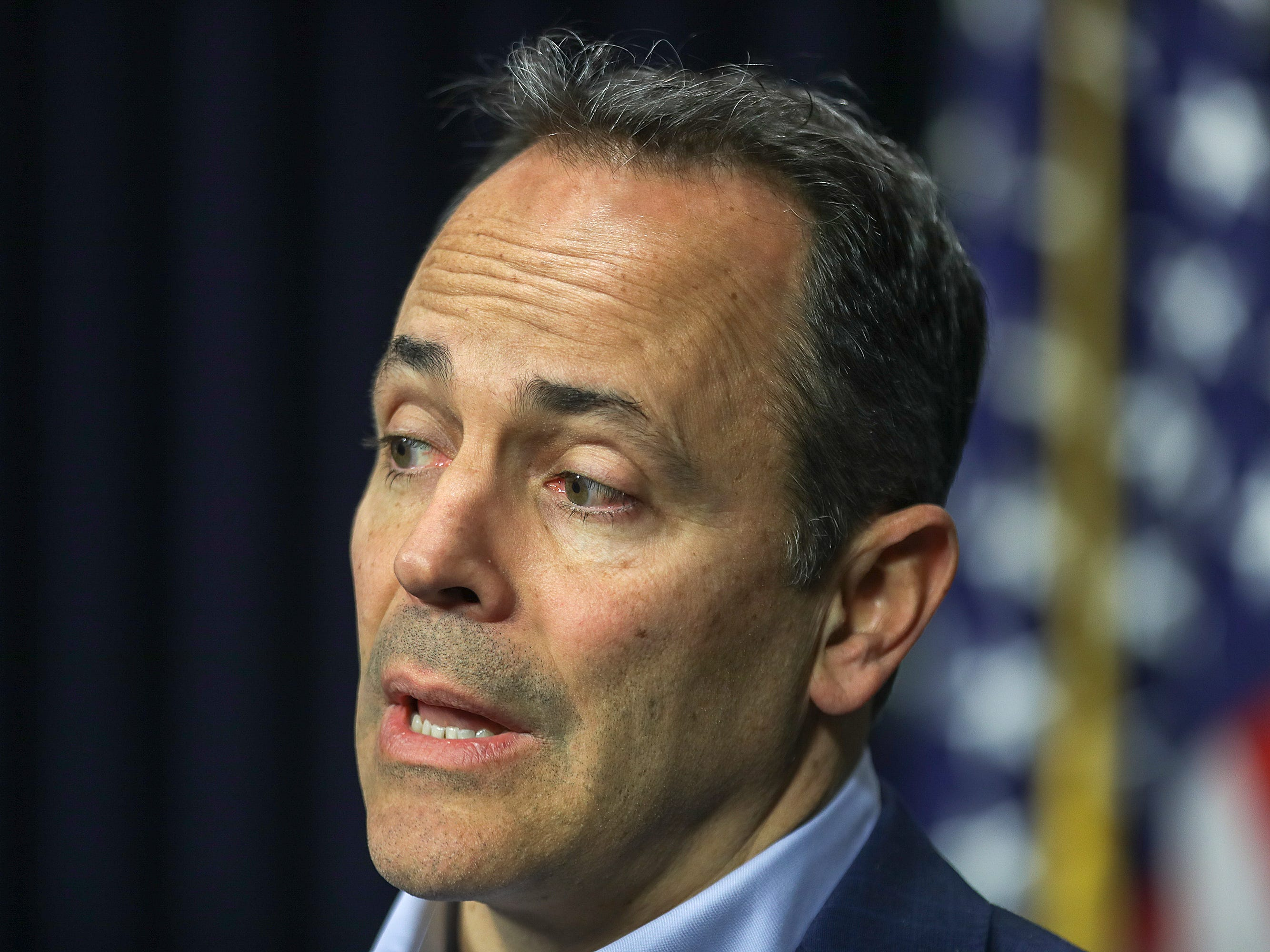 Gov. Matt Bevin speaks to the media about pension reform and the Kentucky Supreme Court ruling that struck down proposals set forth by the governor to fund the system. December 13, 2018