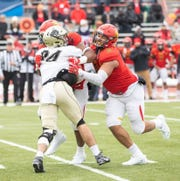 Ferris State defensive end Austin Edwards, a former Waynesboro resident, was signed by the Atlanta Falcons as an undrafted free agent.