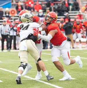 Ferris State defensive end Austin Edwards, a former Lansing Waverly star, leads the Bulldogs in tackles and sacks. Ferris State plays for the Division II national championship on Saturday.