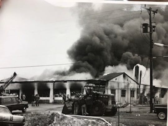 Beacon Sales & Service's first building on Lansing Road in Charlotte burned in 1975 when a fire started in the facility's storage area.