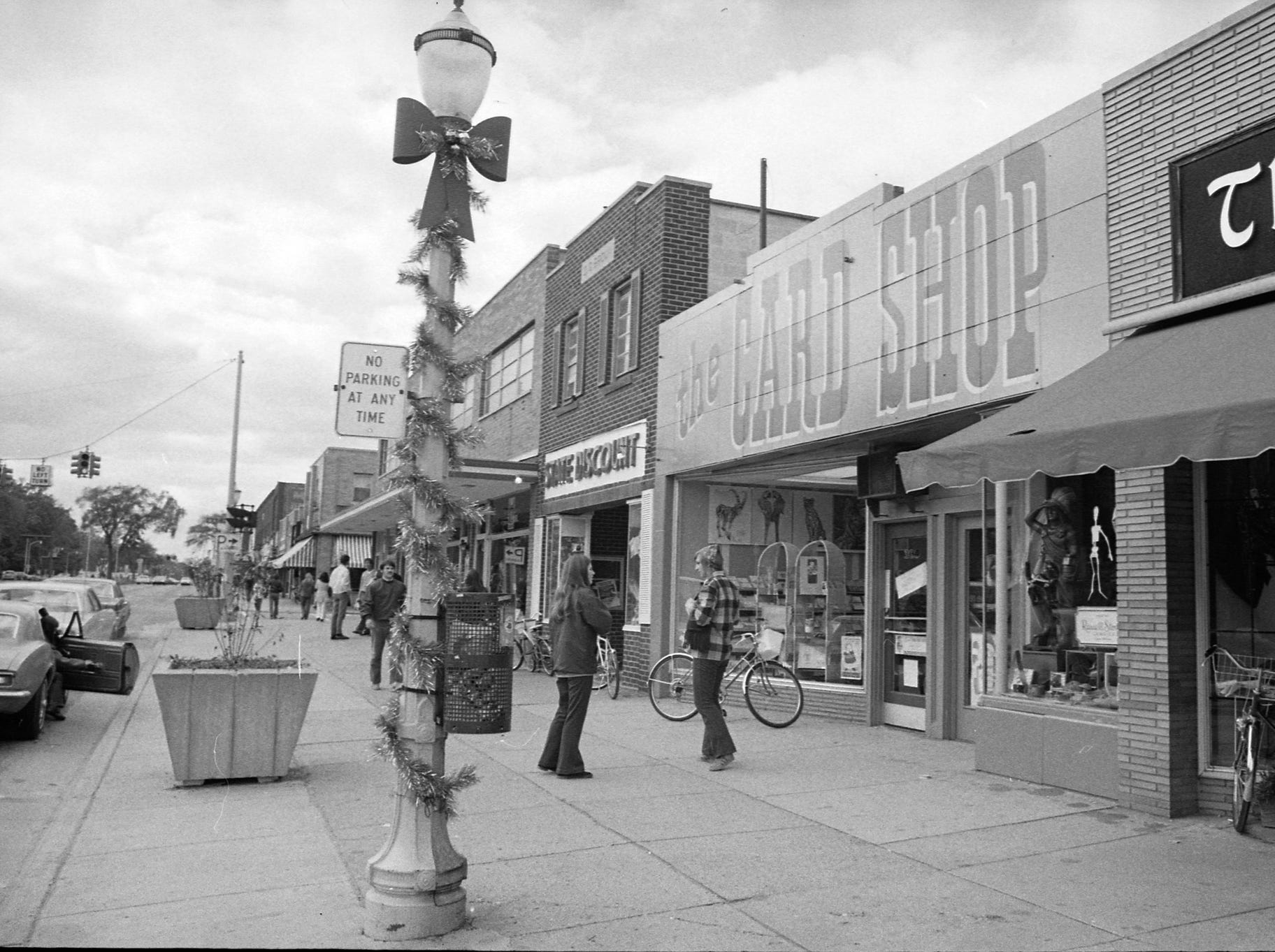 Christmas decorations on Grand River Avenue in East Lansing, undated photo.