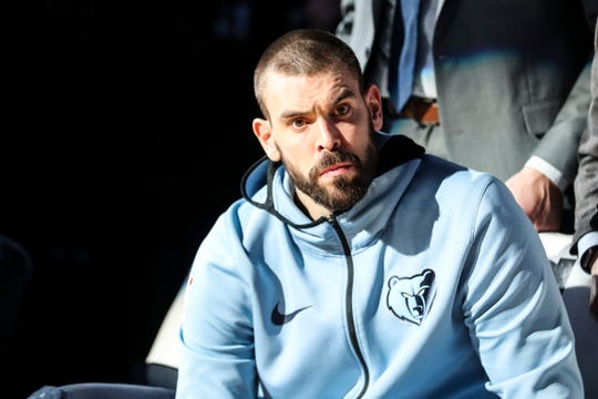 December 12 2018 - Marc Gasol is seen during introductions before the start of Wednesday night's game versus the Portland Trail Blazers at the FedExForum.