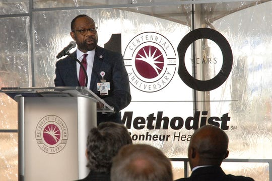 December 12, 2018 - Methodist Le Bonheur Healthcare President/CEO Michael Ugwueke greets guests and visitors to a dedication ceremony Wednesday afternoon for the hospital's Shorb Tower on the campus of Methodist University Hospital. When completed the tower, named for former MLH President and CEO Gary Shorb, will add 450,00 sq.ft. to the existing campus. The project, started in 2016, represents an investment of 275 million dollars and is expected to be completed in the spring of 2019. (Stan Carroll/Special to The Commercial Appeal)