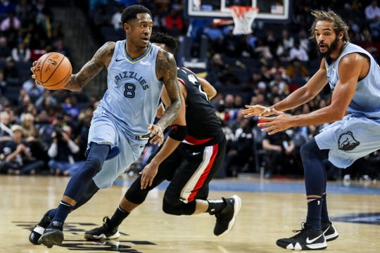 December 12 2018 - Memphis' MarShon Brooks looks for an opening during Wednesday night's game versus the Portland Trail Blazers at the FedExForum.
