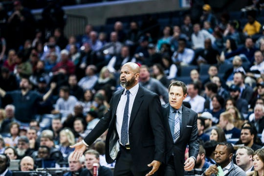 December 12 2018 - Memphis Grizzlies head coach J.B. Bickerstaff reacts after a call during Wednesday night's game versus the Portland Trail Blazers at the FedExForum.