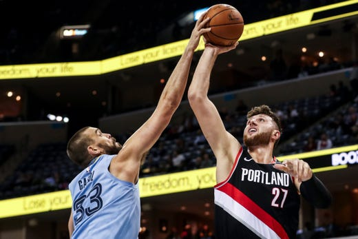 December 12 2018 - Marc Gasol goes up for a block against Portland's Just Nurkic during Wednesday night's game versus the Portland Trail Blazers at the FedExForum.