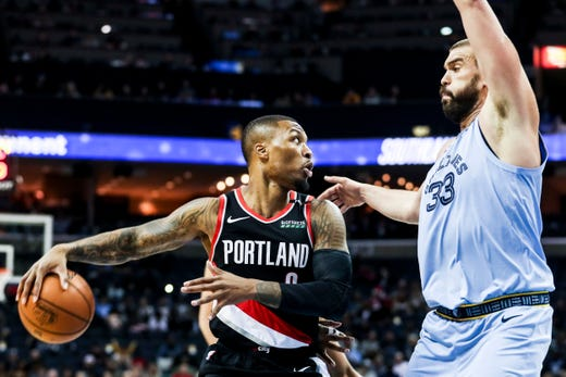December 12 2018 - Portland's Damian Lillard passes behind his back while the Grizzlies' Marc Gasol defends during Wednesday night's game at the FedExForum.
