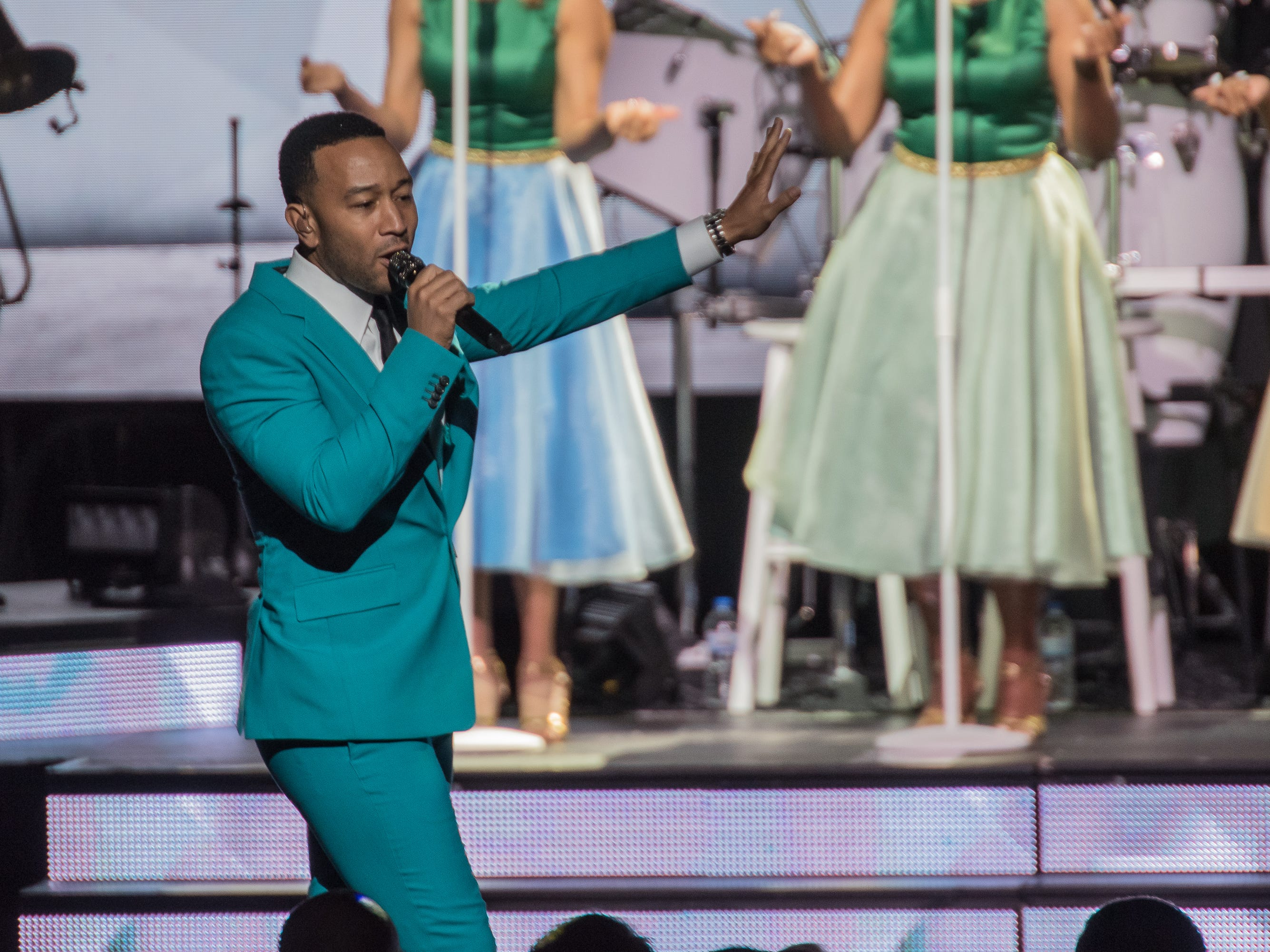"John Legend brought his ""Legendary Christmas"" tour to the Riverside Theater in Milwaukee on Wednesday."