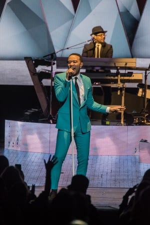Singer John Legend during a performance at the Riverside Theater in Milwaukee.