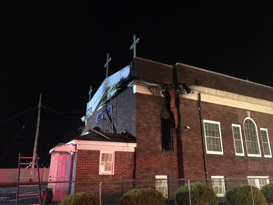 The rear roof of St. Thomas Orthodox Church, West Blackwell St., Dover, was damaged in a 3 a.m. fire Thursday, Dec. 13, 2018.