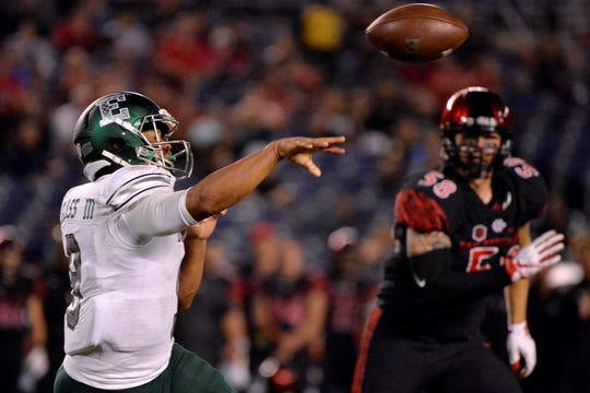 Sep 22, 2018; San Diego, CA, USA; Eastern Michigan Eagles quarterback Mike Glass III (9) passes during the fourth quarter against the San Diego State Aztecs at SDCCU Stadium. Mandatory Credit: Jake Roth-USA TODAY Sports
