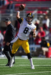 Oct 3, 2015; Madison, WI, USA; Iowa Hawkeyes quarterback Tyler Wiegers (8) during warmups prior to the game against the Wisconsin Badgers at Camp Randall Stadium.  Iowa won 10-6. Mandatory Credit: Jeff Hanisch-USA TODAY Sports