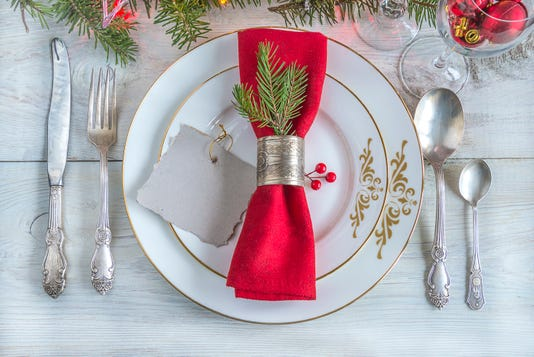 Festive Place Setting For Christmas Or New Year Dinner