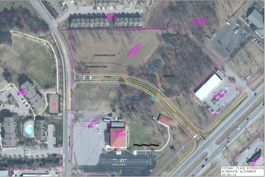 This rendering shows Smyrna Town Council plans to extend Potomac Place, in yellow lines, from the north side of Sam Ridley Parkway to Chaney Road. The project will include relocating the Chaney-Sam Ridley traffic signal to Potomac-Sam Ridley to improve flow of commuters.