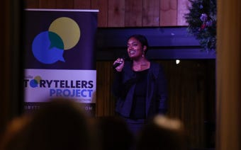 Kearia Crutchfield, a graduate student who was emancipated from her parents at age 15, tells her story at Nashville Storytellers held at Green Door Gourmet on Dec. 3, 2018.