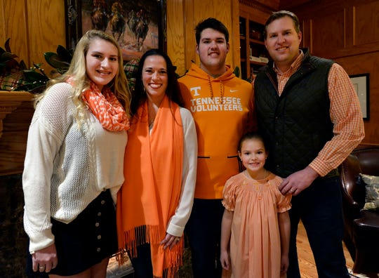 The Lampley family, Savannah, left, Christy, Jackson, Scarlett Mae, and Brad at their home, Wednesday, Dec. 12, 2018, in Franklin, Tenn. Jackson will be continuing playing football at the University of Tennessee.