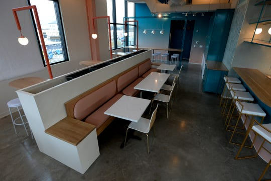 Stay Golden, a new all-day restaurant on Woodland Street, Thursday, Dec. 13, 2018, in Nashville, Tenn. Jamie Cunningham, Sean Stewart and Nathanael Mehrens, coffee entrepreneurs previously built Steadfast into a popular Nashville brand, and are now opening Stay Golden, which will offer coffee, cocktails and a fun menu of seasonal dishes created by executive chef Simoni Kigweba and sous chef Alex Mills.