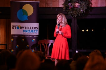 Ohio Valley Conference Commissioner Beth DeBauche tells her story at Nashville Storytellers held at Green Door Gourmet on Dec. 3, 2018.