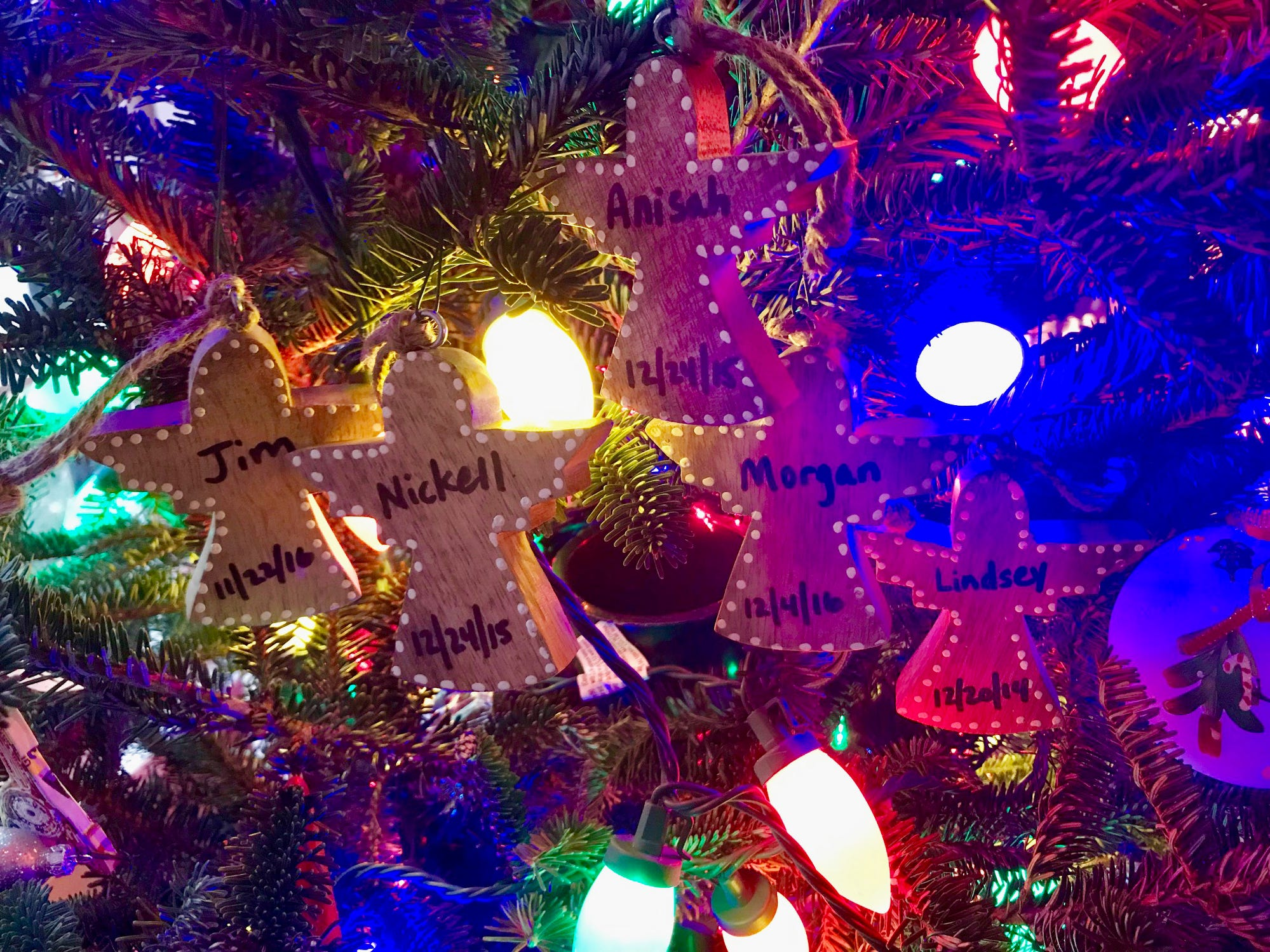 Lisa Whitten of Franklin, Tenn., says her son had five high school friends pass away, and they always have an angel memorial for each one on their Christmas tree.