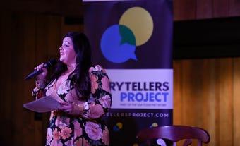 Poet Meg Wabe reads poetry at Nashville Storytellers: Amazing Women held at Green Door Gourmet on Dec. 3, 2018.