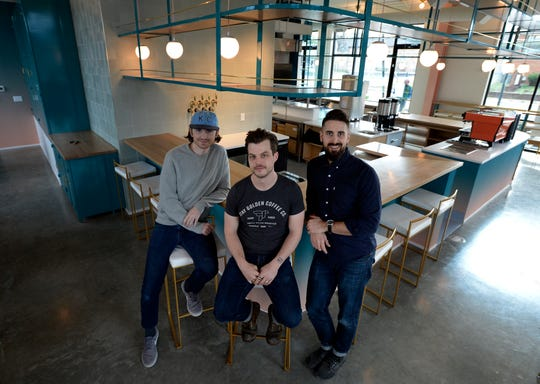 Sean Stewart, left, Nathanael Mehrens, and Jamie Cunningham, are opening Stay Golden, a new all-day restaurant on Woodland Street, Thursday, Dec. 13, 2018, in Nashville, Tenn. Jamie Cunningham, Sean Stewart and Nathanael Mehrens, coffee entrepreneurs previously built Steadfast into a popular Nashville brand, and are now opening Stay Golden, which will offer coffee, cocktails and a fun menu of seasonal dishes created by executive chef Simoni Kigweba and sous chef Alex Mills.