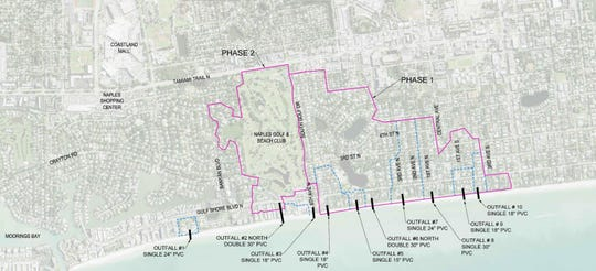 A map showing the location of all the stormwater beach outfalls in Naples. The Naples City Council discussed removing the six outfalls on the right at its workshop on Monday, Dec. 17, 2018.