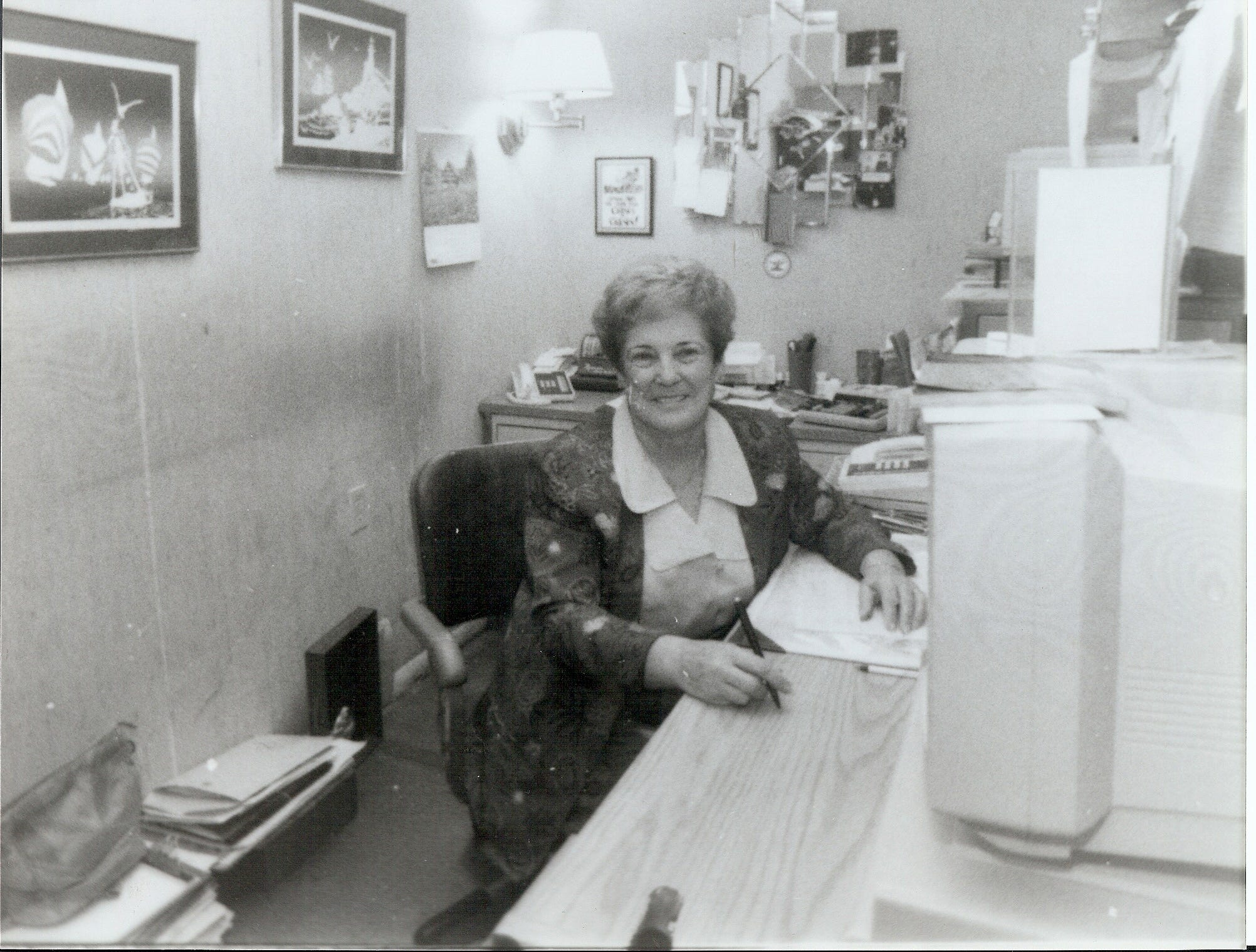 Evelyn Dickerson in her office at Wynn's Market when it was on Fifth Avenue South. She's now 94 and still works at Wynn's Market on Ninth Street three days a week. She's retiring in May after more than 60 years of working there as a bookkeeper.
