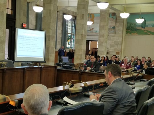 Sen. Nicholas Scutari, D-Union, gives a presentation on a controversial redistricting proposal during a public hearing in the Statehouse on Dec. 13, 2018.
