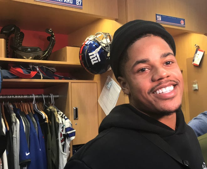 NY Giants wide receiver Sterling Shepard smiles while talking to reporters at his locker Monday in East Rutherford, NJ.