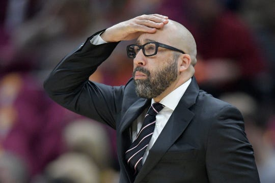 Dec 12, 2018; Cleveland, OH, USA; New York Knicks head coach David Fizdale reacts in the first quarter against the Cleveland Cavaliers at Quicken Loans Arena.