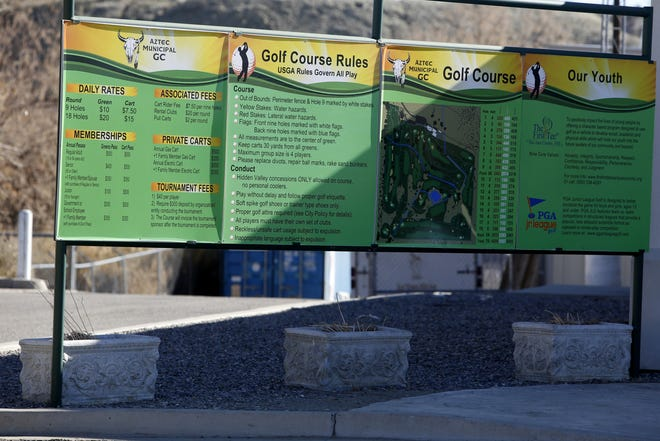 A sign is pictured on Thursday, Dec. 13, 2018, at Aztec Municipal Golf Course. The course faces an uncertain future as Aztec's leaders decide whether to continue its lease.