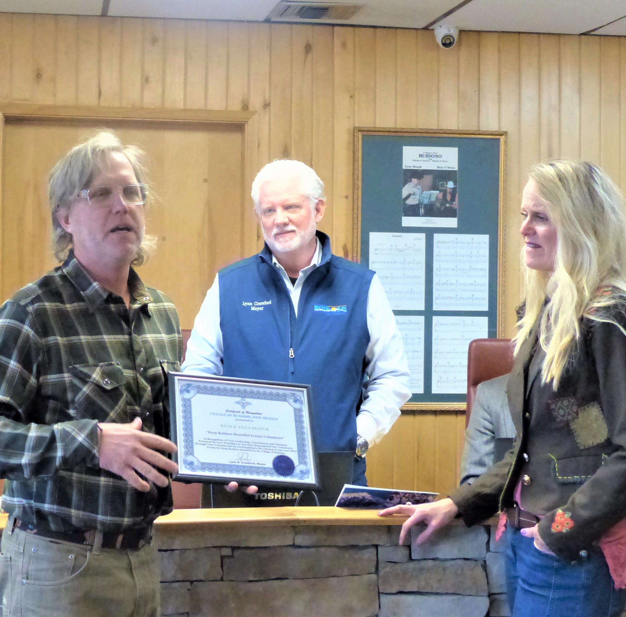 Rich and Anna Dozier recognized by Ruidoso Village Council