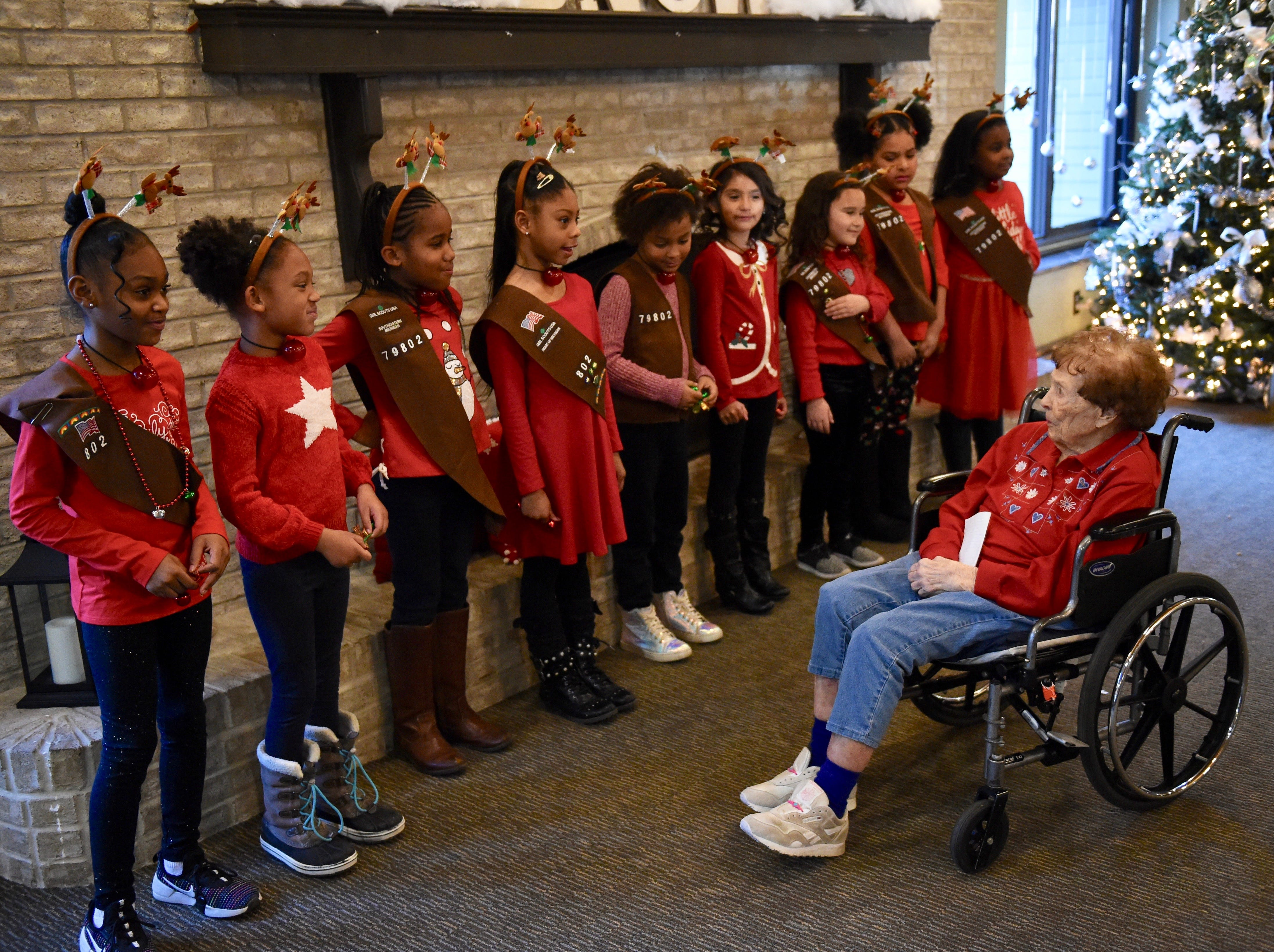 One-hundred-year-old Edith Foytek thanks the Brownie troop from Wood Creek for their beautiful songs.