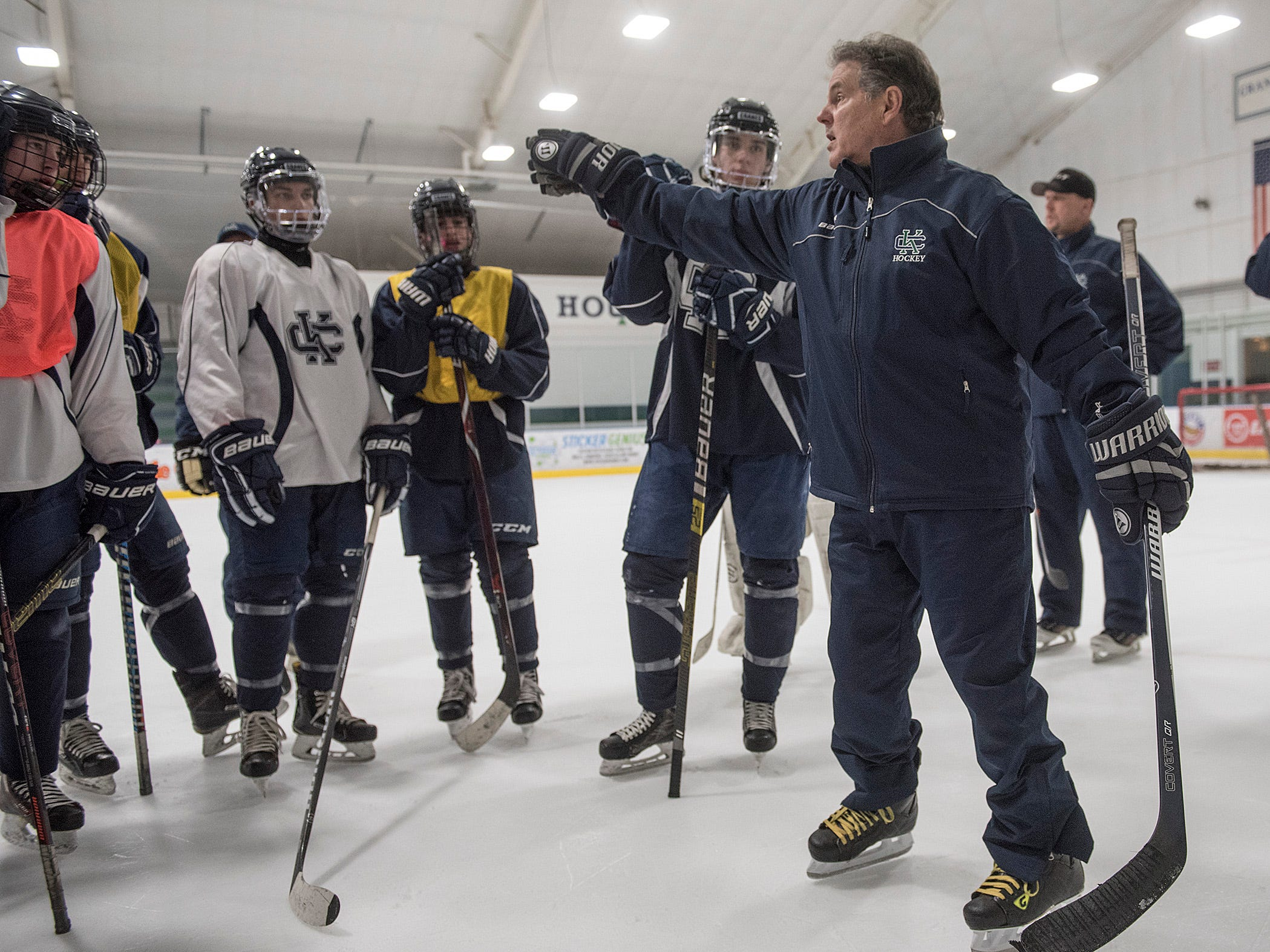 Cranbrook Hockey Coach Andy Weidenbach is not real happy about the practice, and lets the team know what he expects.